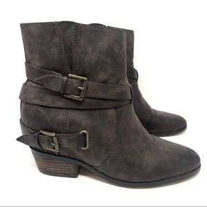 Crown Vintage Brown Leather Harness Buckle Boots